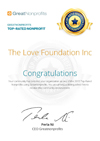 Great Nonprofits Top-rated 2015 The Love Foundation Certificate