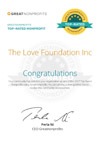 Great Nonprofits Top-rated 2017 The Love Foundation Certificate